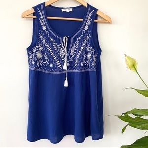 Tank top with embroidered front